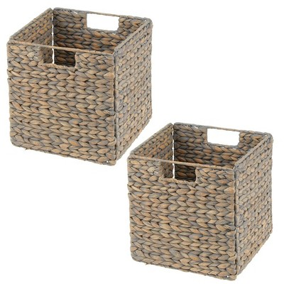 mDesign Large Woven Hyacinth Home Storage Basket for Cube Furniture, 2 Pack