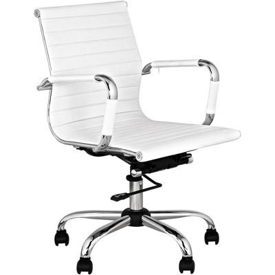 Studio 55 Modern Home Office Chair Swivel Tilt Low Back White Black Chrome Adjustable for Work Desk Home Office Computer