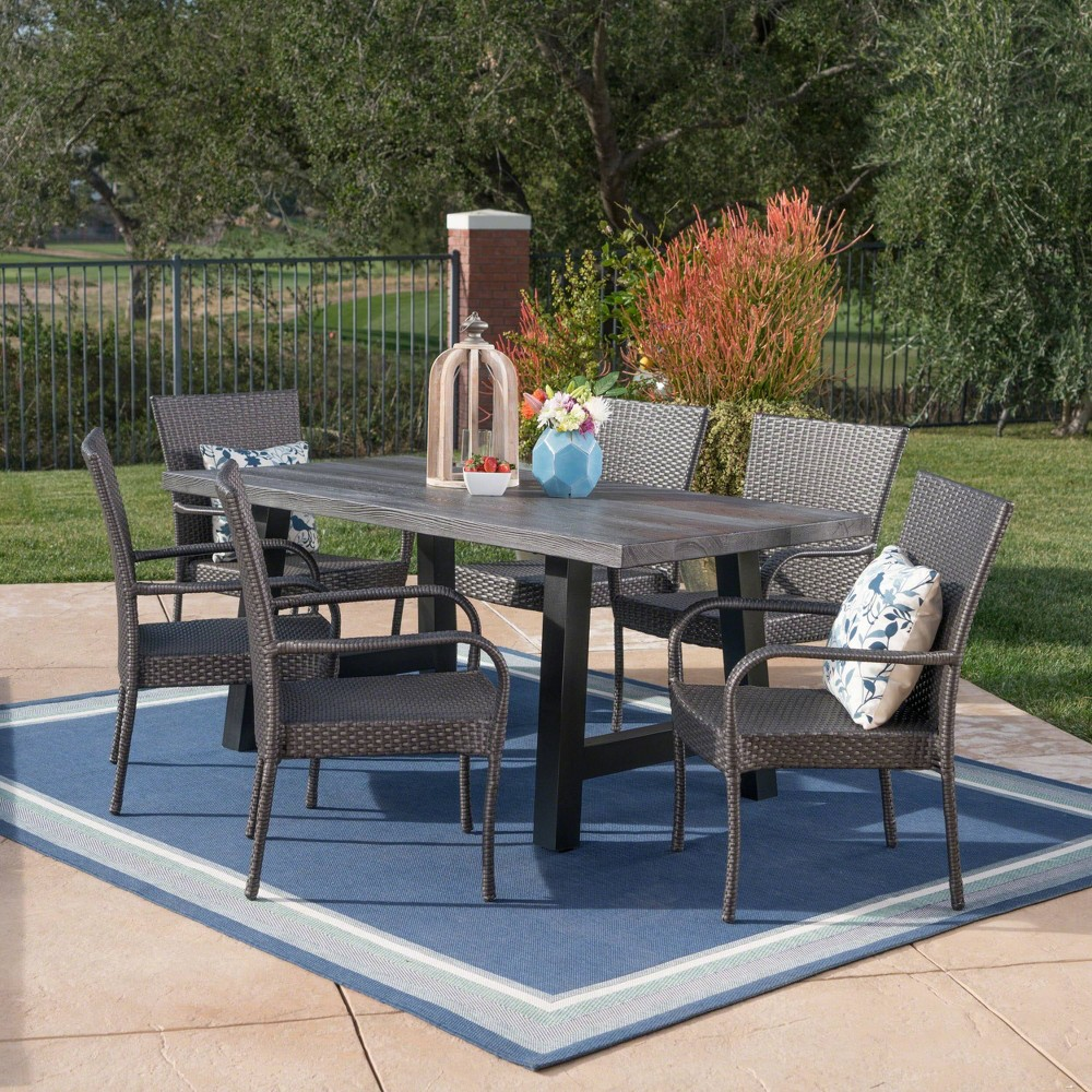 Morrison 7pc Wicker and Concrete Dining Set - Gray - Christopher Knight Home
