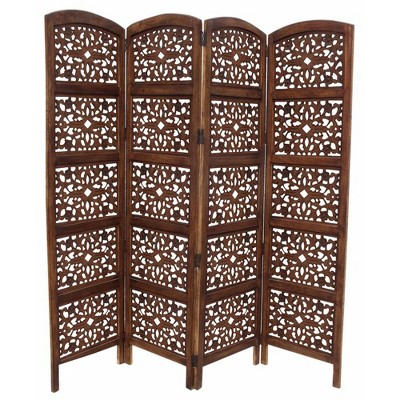 Handmade Foldable 4 Panel Wooden Partition Screen Room Divider Brown - The Urban Port