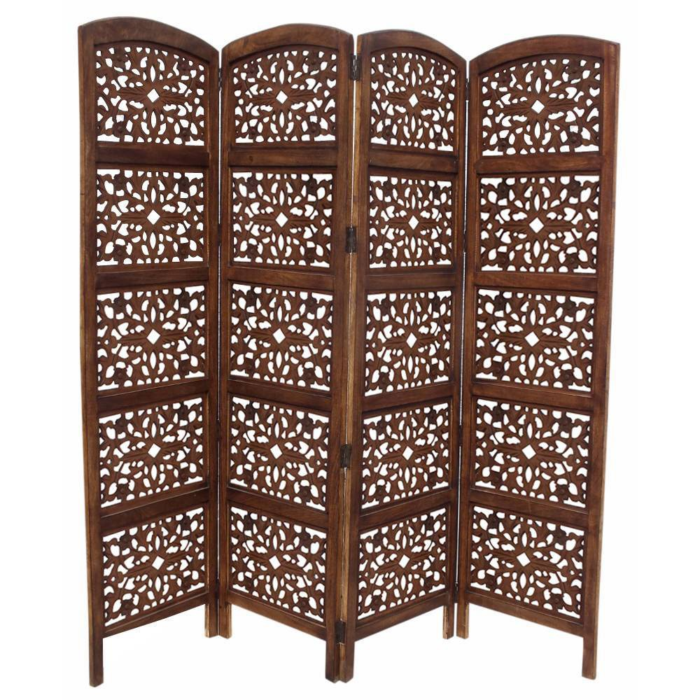 Image of Handmade Foldable 4 Panel Wooden Partition Screen Room Divider Brown - The Urban Port