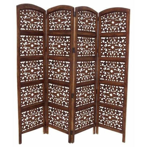 Handmade Foldable 4 Panel Wooden Parion Screen Room Divider Brown The Urban Port