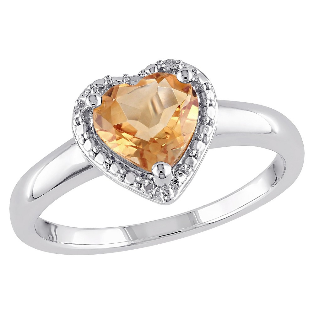 1 1/7 CT. T.W. Heart Shaped Citrine Ring in Sterling Silver (5), Yellow