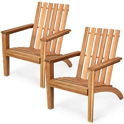 Costway 2PCS Patio Acacia Wood Adirondack Chair Lounge Armchair Durable Outdoor Garden