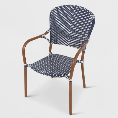 French Café Wicker Patio Dining Chair- Navy/White - Threshold™