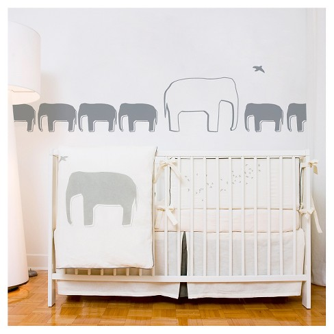 Poids Plume Elephant Nursery Wall Decals - Dark Gray - image 1 of 1