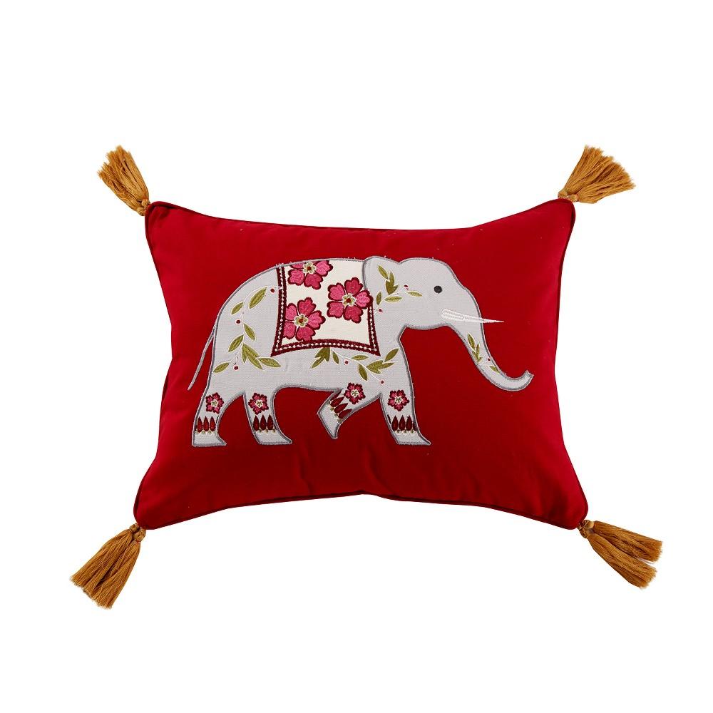 Image of 14x18 Eshani Elephant Tassel Pillow Red - Mudhut