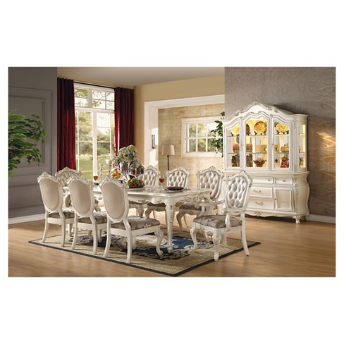 Chantelle Arm Dining Chair Set Of 2 Pearl White And Rose Gold