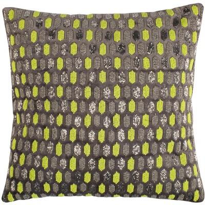 "Reston Pillow - Green/Grey - 20"" X 20""  - Safavieh"