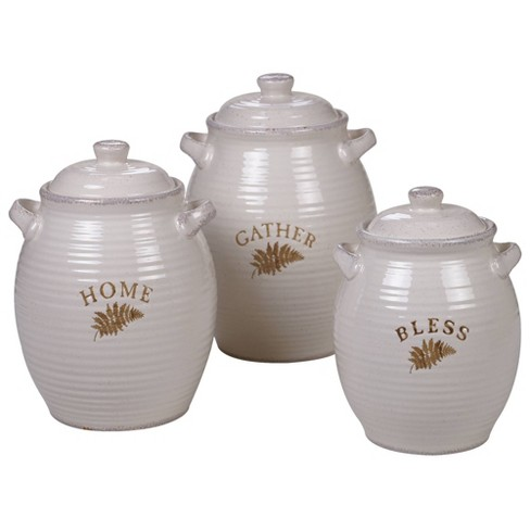 3pc Stoneware Gather Canister Set White - Certified International - image 1 of 1