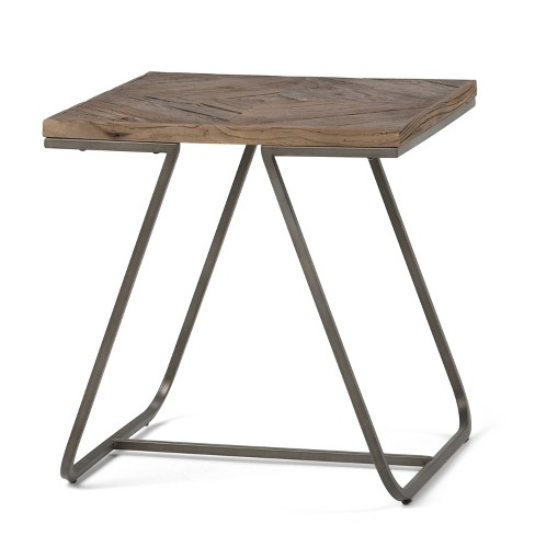 """20"""" Camilla Solid Aged Elm Wood End Table Distressed Java Brown Wood Inlay - Wyndenhall - image 1 of 4"""