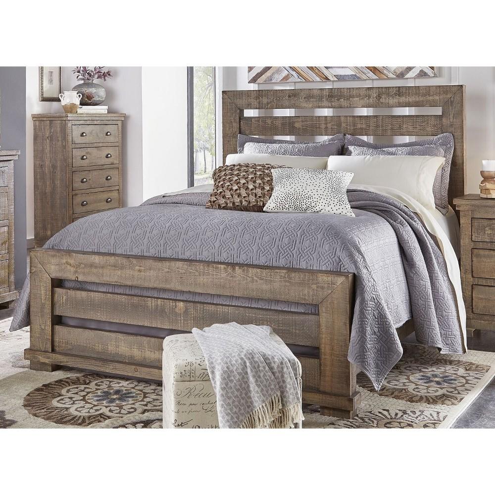 Queen Willow Slat Complete Bed Weathered Gray - Progressive