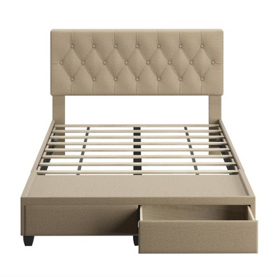 Queen Henley Linen Tufted Upholstered Platform Bed with Storage Drawers - Eco Dream