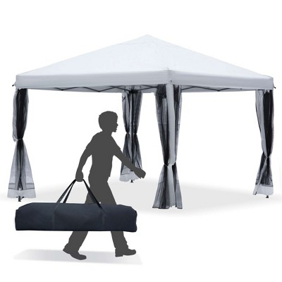 Outsunny 10' x 10' Pop-Up Canopy Party Tent with Four Detachable Mesh Walls