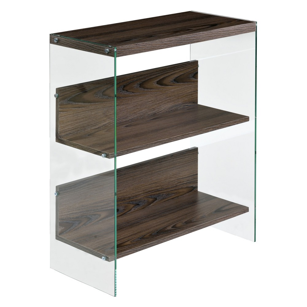 "Image of ""28"""" Modern Floating Shelf 3 Tier Walnut - OneSpace, Brown"""