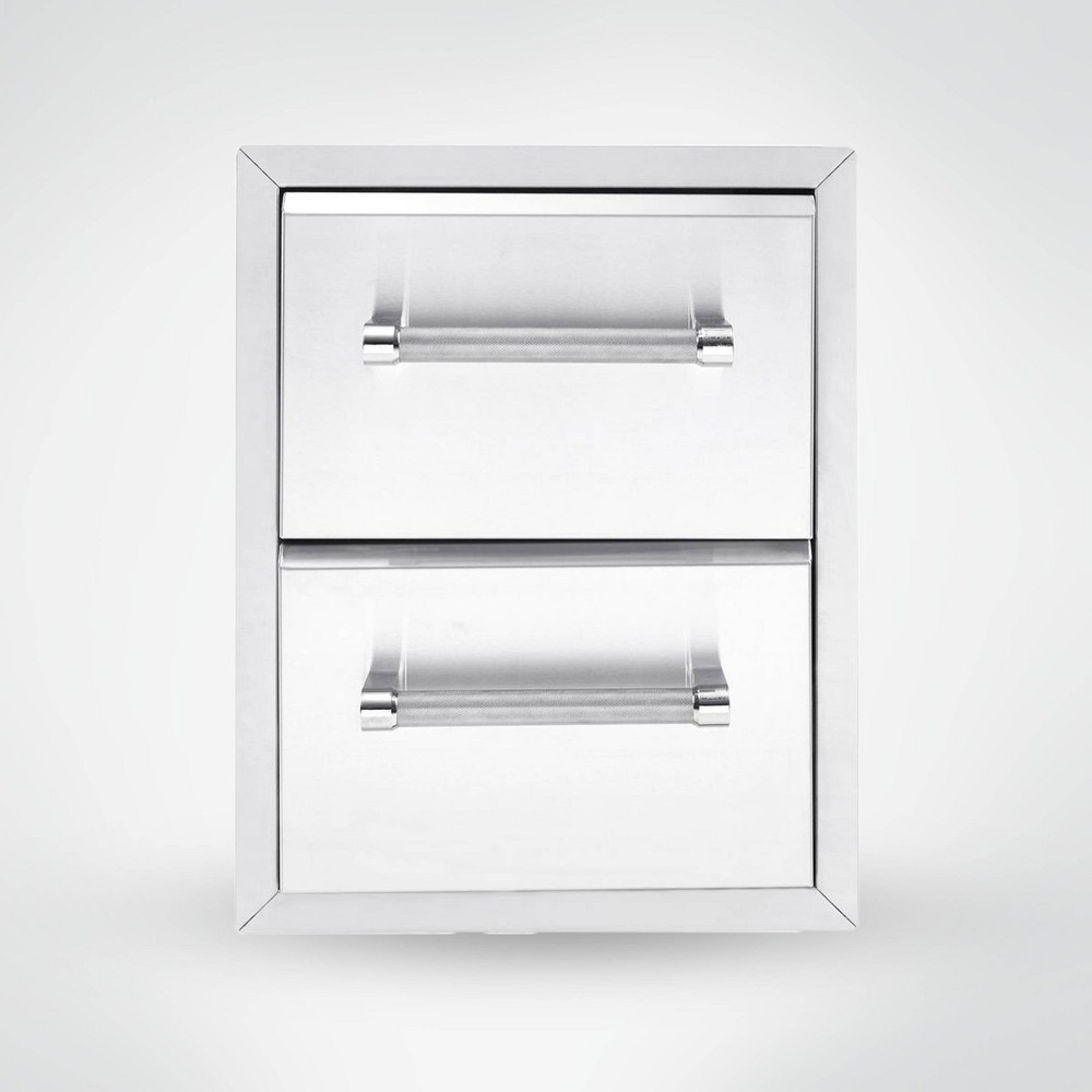 "Image of ""KitchenAid 18"""" 2-Drawer Large Cabinet Built-In Grill - Silver"""
