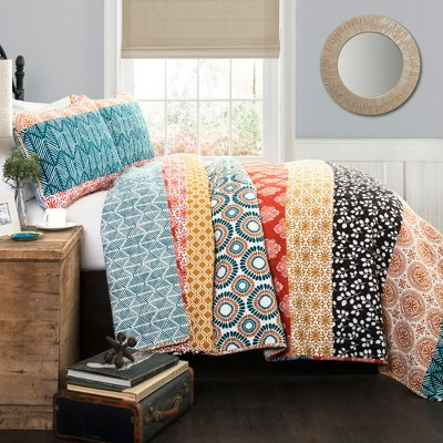 Bohemian Stripe Quilt 3 Piece Set (Full/ Queen)Turquoise/Orange - Lush Décor