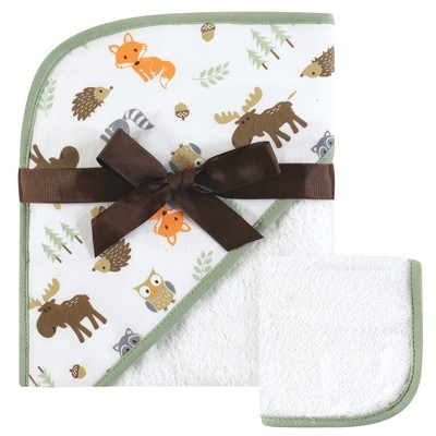 Hudson Baby Infant Boy Cotton Hooded Towel and Washcloth 2pc Set, Woodland, One Size