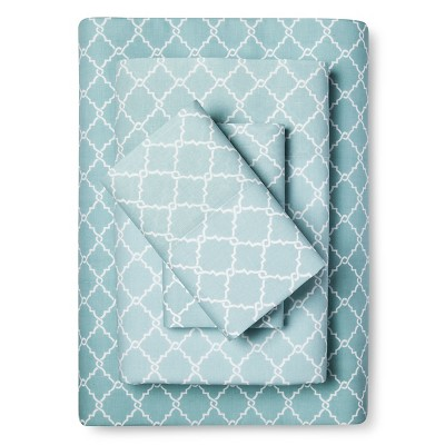 Queen Fretwork Geometric Printed Cotton Sheet Set Aqua