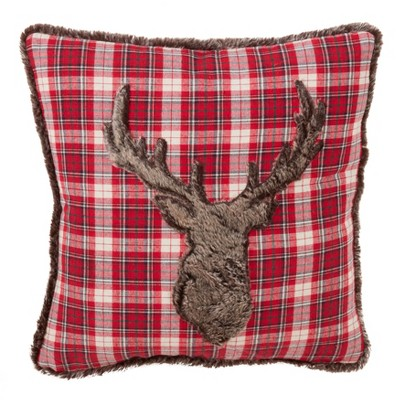 Plaid Faux Fur Reindeer Square Throw Pillow Red - Saro Lifestyle