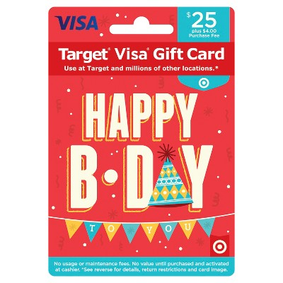 Visa Happy B-Day Gift Card - $25 + $4 Fee