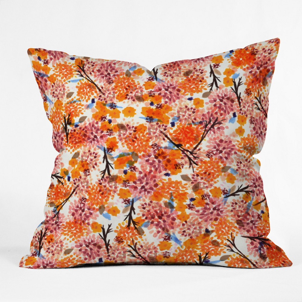 Orange Sorbet Floral Throw Pillow - Deny Designs