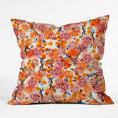 Orange Sorbet Floral Throw Pillow - Deny Designs - image 1 of 2