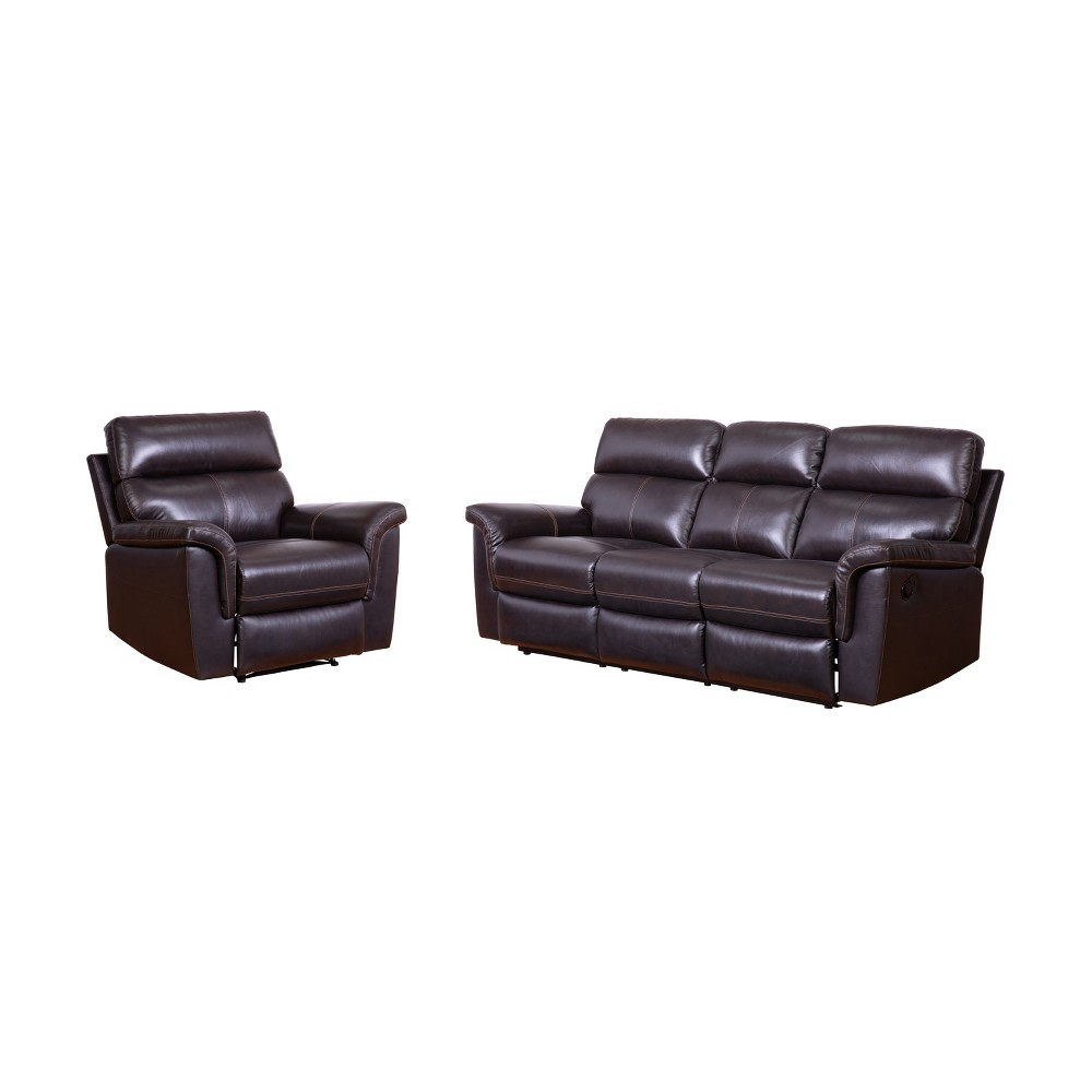 Image of 2pc Maxwell Top Grain Leather Reclining Sofa & Armchair Set Brown - Abbyson Living