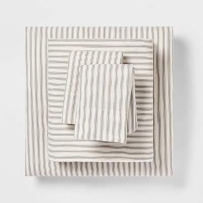 King Fall Flannel Patterned Sheet Set Gray Stripe - Threshold™
