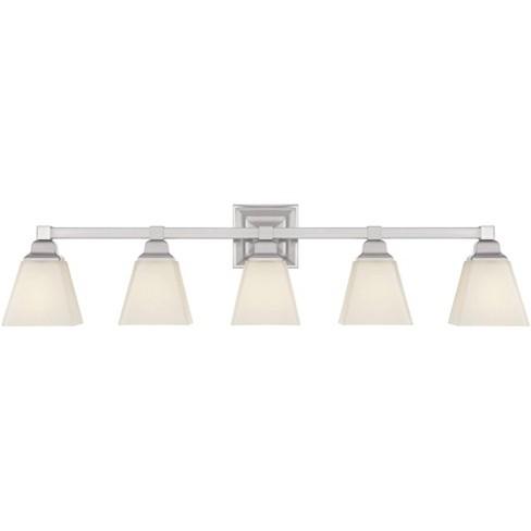 Regency Hill Modern Wall Light Satin, 5 Light Bathroom Fixture