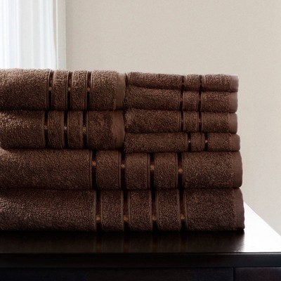 8pc Plush Cotton Bath Towel Set Dark Brown - Yorkshire Home