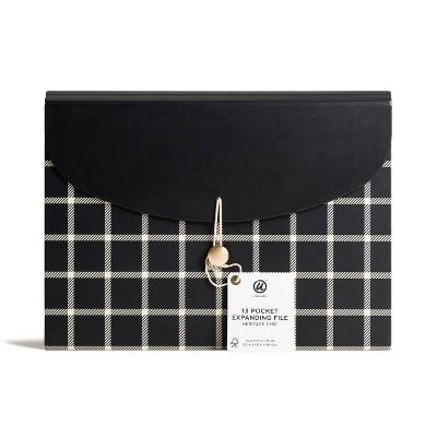 U Brands 13 Pocket Expanding File Folder Black/White Heritage Chic