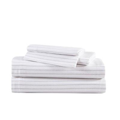 King Patterned Flannel Sheet Set Gray Stripe- Eddie Bauer