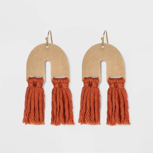 U Shape with Tassel Drop Earrings - Universal Thread™ - image 1 of 2