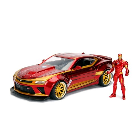 Jada Toys Marvel Avengers 2016 Chevy Camaro Die-Cast Vehicle with Iron Man Die-Cast Figure 1:24 Scale Candy Red - image 1 of 4