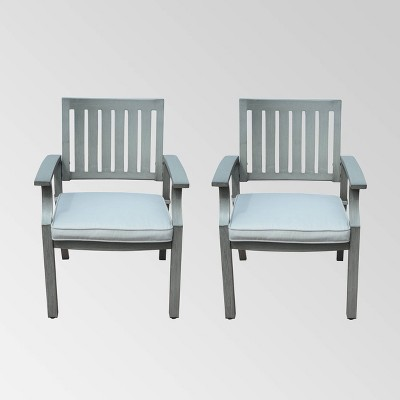 Lombok 2pk Aluminum Modern Dining Chair  Dark Gray/Silver - Christopher Knight Home