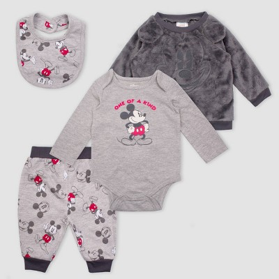 Baby Boys' 4pc Disney Mickey Mouse Set - Heather Gray 12M