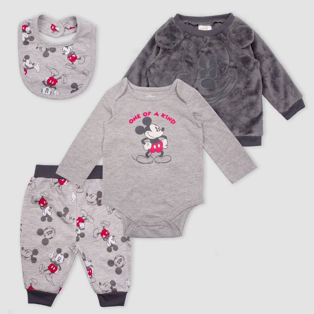 Image of Baby Boys' 4pc Disney Mickey Mouse Set - Heather Gray 0-3M, Boy's