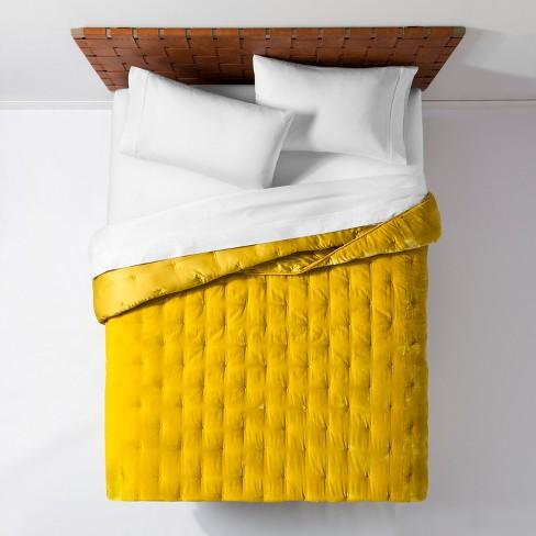 Citron Velvet Tufted Stitch Quilt Full, Moss Green Velvet Bedding