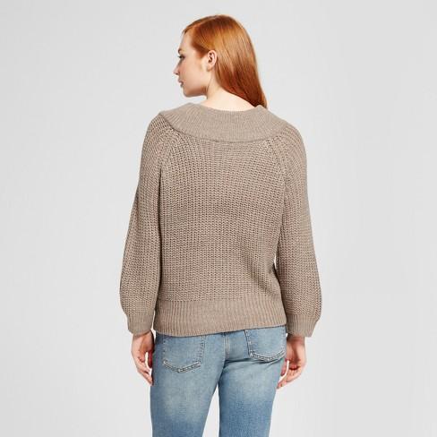 8ce7a5df92 Women s Marilyn Off The Shoulder Pullover Sweater - Nitrogen Tan M   Target