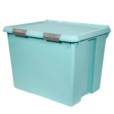 Hefty Hinged Lid Storage Box Jade Opaque 70qt