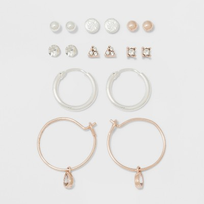 Two Stones, Two Balls, Triangle, Flat Circle, & Hoop Earring Set - A New Day™
