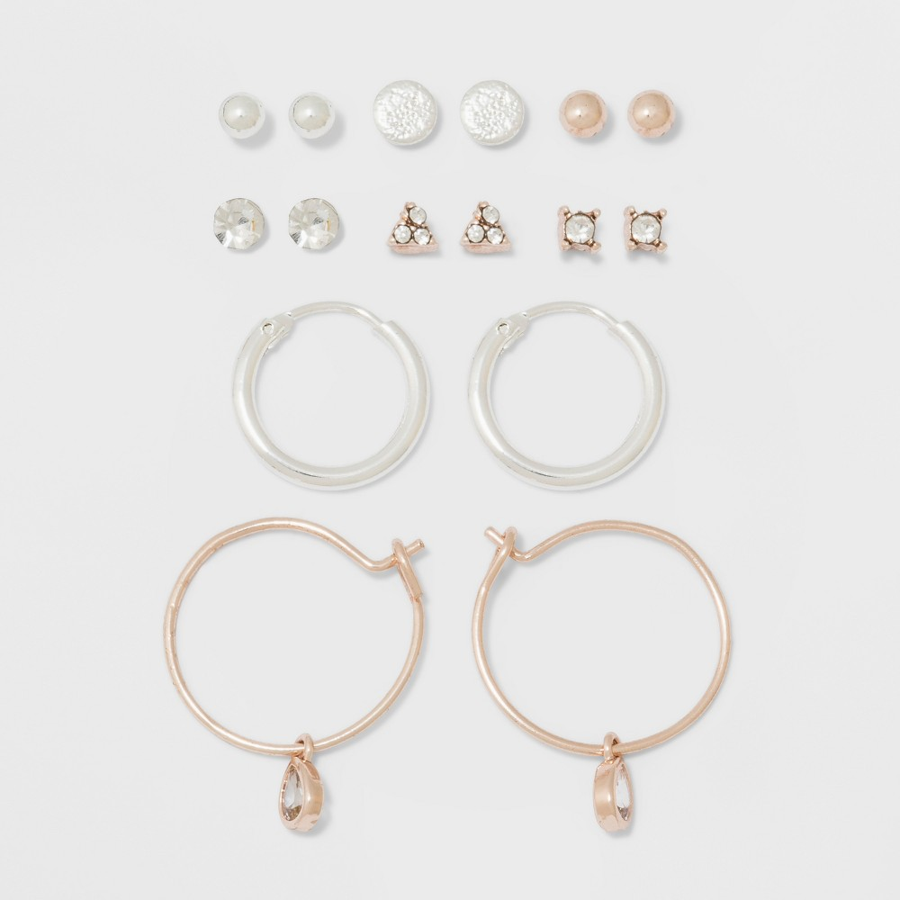 Image of Two Stones, Two Balls, Triangle, Flat Circle, & Hoop Earring Set - A New Day , Women's, MultiColored