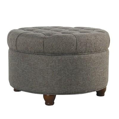 Homepop Large Tufted Round Storage Ottoman Dark Gray : Target