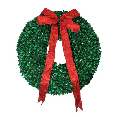 Northlight Pre-Lit Glittered Leaves Artificial Christmas Wreath - 28-Inch, Clear Lights