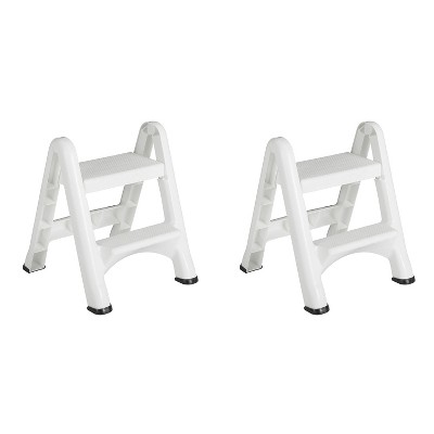 Rubbermaid FG420903WHT EZ Step 2 Step Folding Plastic Ladder Step Stool with Skid Resistant Foot Pads, White (2 Pack)