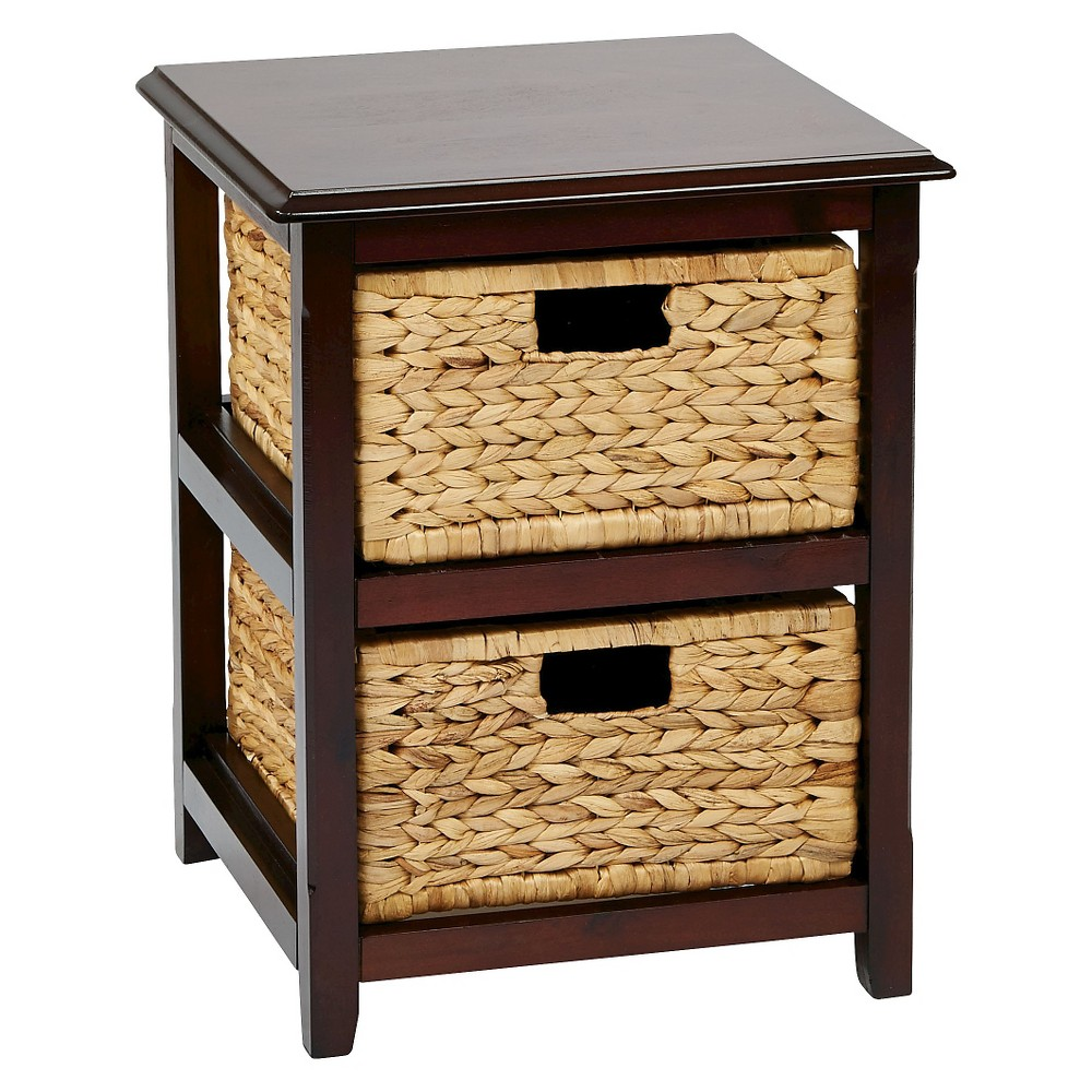 Seabrook Two-Tier Storage Unit With Espresso (Brown) Finish and Natural Baskets - Office Star