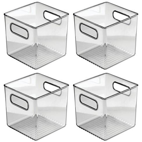 mDesign Plastic Storage Bin with Handles for Bathroom, 4 Pack- Smoke Gray - image 1 of 4