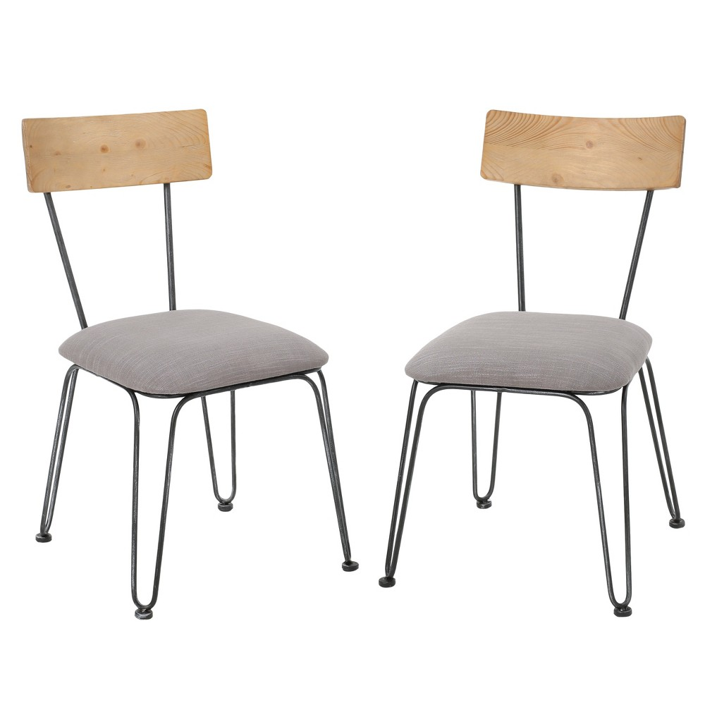 Orval Dining Chair - Black/Gray (Set of 2) - Christopher Knight Home