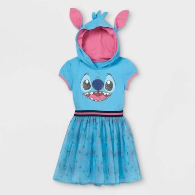 Girls' Disney Stitch Cosplay A-Line Dress - Blue